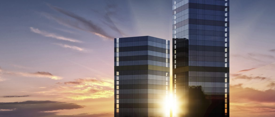 Tellus Towers sunrise