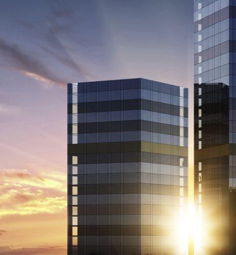 Tellus Towers sunrise
