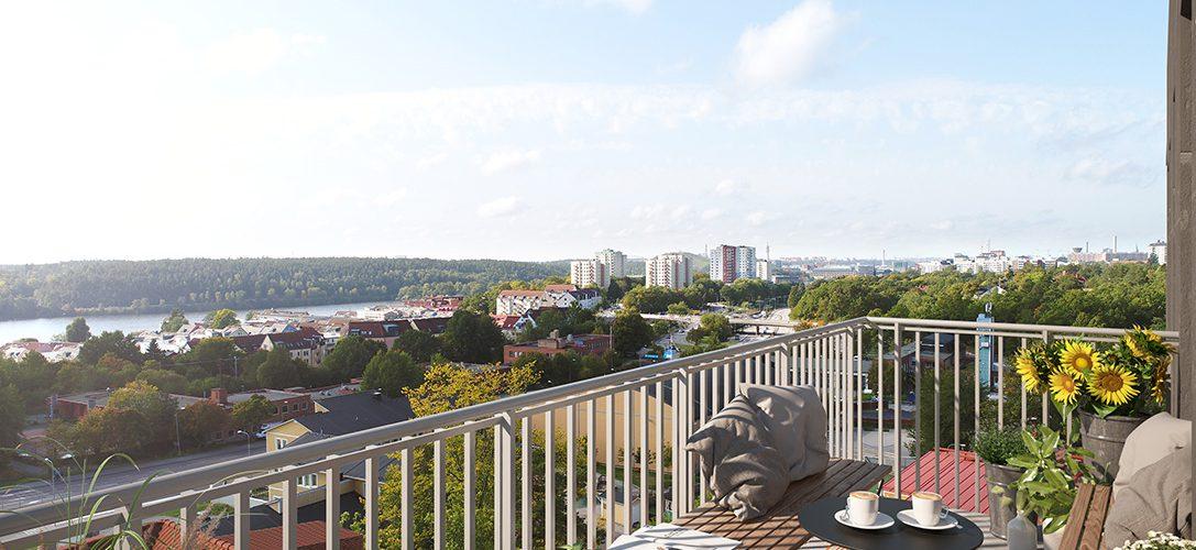 SSM nyproduktion i Nacka, Elverket, balkong med vy