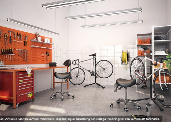 SSM nyproduktion i Nacka, Elverket, cykelverkstad