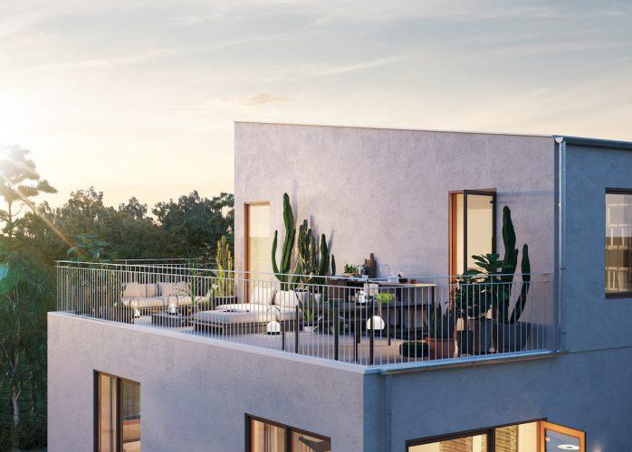 SSM nyproduktion, bostadsrätter i Sollentuna, terrass